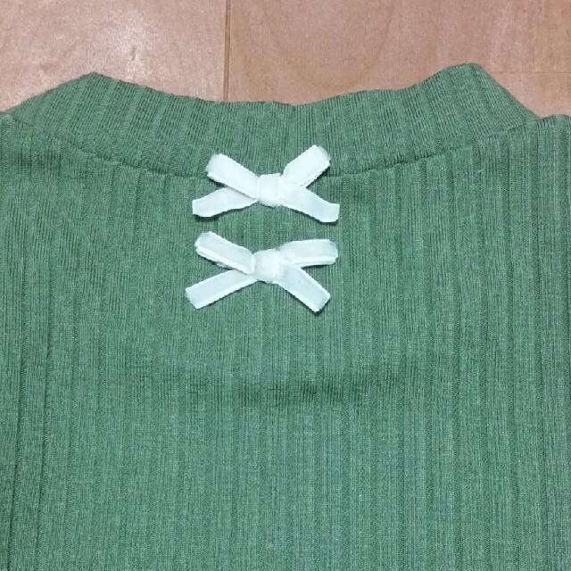 petit main(プティマイン)のリブ トップス カーキ 抹茶 キッズ/ベビー/マタニティのキッズ服 女の子用(90cm~)(Tシャツ/カットソー)の商品写真