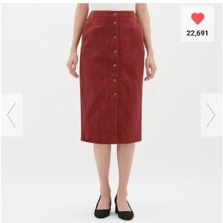 GU - 美品☆GU コーデュロイフロントボタンタイトスカート RED Lサイズ