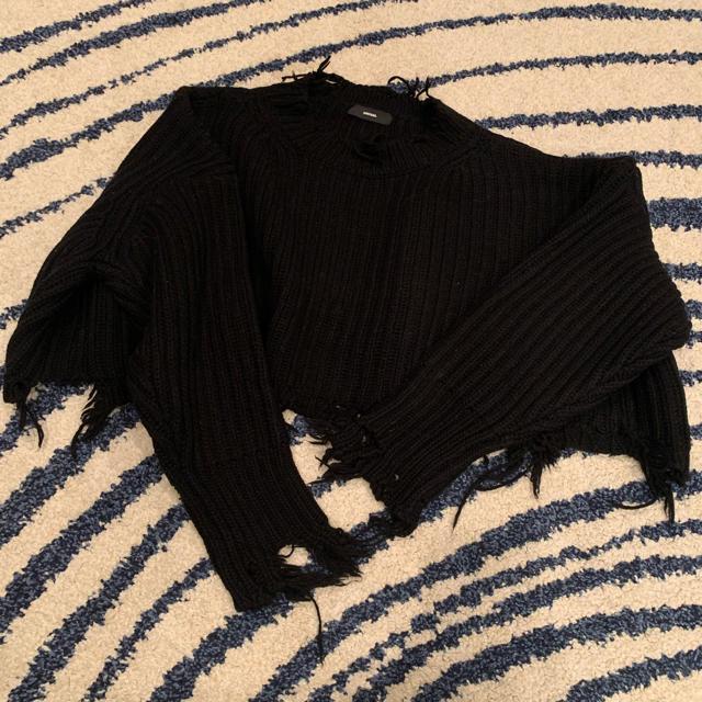 DIESEL(ディーゼル)のディーゼル ダメージ加工ショートニット レディースのトップス(ニット/セーター)の商品写真