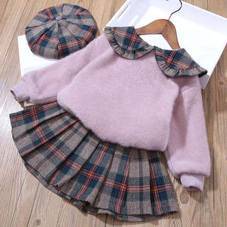 KSBA149秋冬子供服裏起毛厚手トレーナー+スカート+帽子(2色80-130)