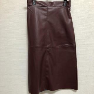 エイチアンドエム(H&M)の新品 タグ付き 完売品 H&M フェイクレザー スカート ワインレッド 美品(その他)