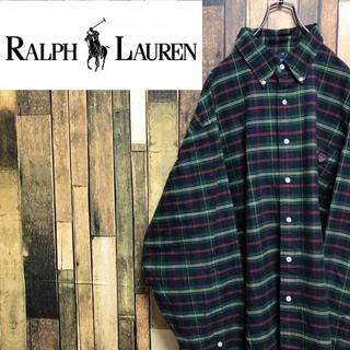 Ralph Lauren - 【激レア】ラルフローレン☆ワンポイント刺繍ロゴスーパービッグチェックシャツ90s