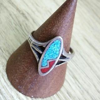 シルバーリング ターコイズ&赤サンゴ 16号(リング(指輪))