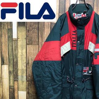 FILA - 【超激レア】フィラFILA☆刺繍ロゴ入り裏地総柄デザイン中綿ダウンジャケット