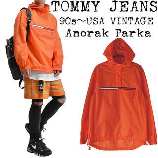 トミー(TOMMY)のTOMMY★トミー★90s★アノラックパーカー★オレンジ★ボックスロゴ★フラッグ(マウンテンパーカー)