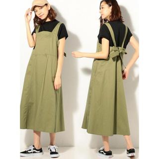 coen - coen バックリボンジャンパースカート カーキ