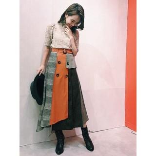REDYAZEL - 異素材MIXミモレ丈スカート