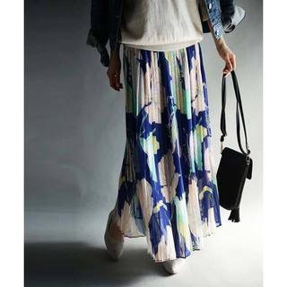 【antiqua】花柄 プリーツ ロング スカート 【アンティカ】
