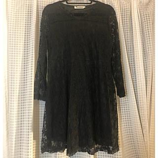 韓国ブランド 黒レースドレス(ミニドレス)