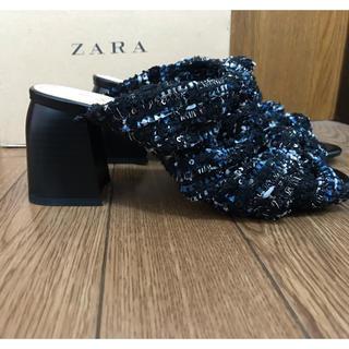 ザラ(ZARA)の美品 ZARA ノット付きヒールミュールサンダル 36(その他)