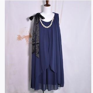 新品❤️大きめパール ネックレス ミディアムドレス ネイビー紺 ワンピース結婚式(ミディアムドレス)