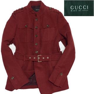 グッチ(Gucci)の美品】GUCCI モールスキン スタンドカラーコート  ブランド イタリア製(チェスターコート)