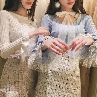 イートミー(EATME)の袖フリルネックセーター(ホワイト)(ニット/セーター)