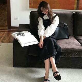 【大人気】♪ブラックステッチジャンパースカート♪(ロングスカート)