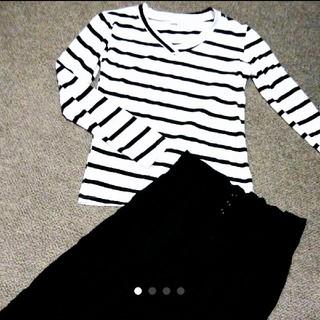 ザラ(ZARA)の*即購入ok*khaju*black*ガウチョパンツ*ボーダー*アシンメトリー*(Tシャツ(長袖/七分))