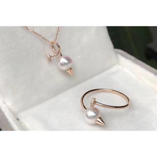 パール ダイヤモンド ネックレス & リング K18 新品(リング(指輪))