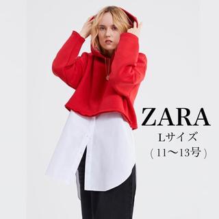 ザラ(ZARA)の新品・未使用・タグ付【ZARA/ザラ】クロップド丈フーディー Lサイズ(パーカー)