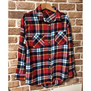マドラスチェックシャツ 赤 起毛素材 レッド(シャツ/ブラウス(長袖/七分))