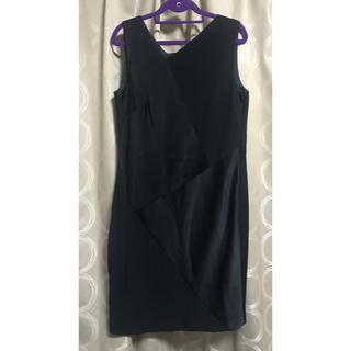 ダナキャランニューヨーク(DKNY)のDKNY ドレス ワンピース 黒 ブラック XL サイズ10(ひざ丈ワンピース)