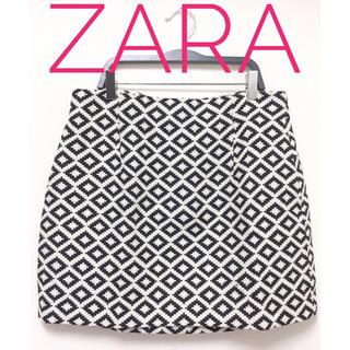 ザラ(ZARA)のZARA WOMAN【美品】ダイヤ 幾何学 総柄 台形 ミニ スカート(ミニスカート)