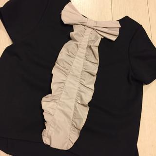 LANVIN en Bleu - LANVIN en bleu 黒 リボンフリル カットソー Tシャツ