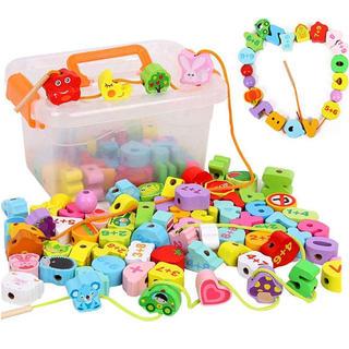 紐通しおもちゃ 106個セット 木製 絵柄認知 知育玩具 積み木 入園祝