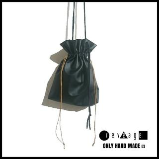 reveage 巾着 レザー サコッシュ トレンド ハンドメイド バッグ 韓国
