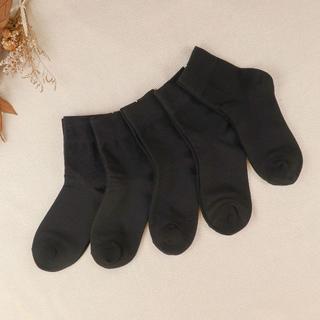 レディース サイズ22~25 黒靴下 5足セット 普通丈(ソックス)