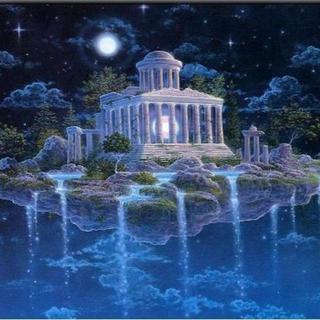A3サイズ 聖なる水 天空の城 ダイヤモンドアート