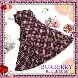 BURBERRY BLUE LABEL - 【秋冬向け】Burberry♡バーバリーチェック柄サイドベルト付きワンピース