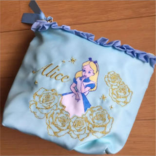 Disney - アリス ポーチ フリル 刺繍 ブルー
