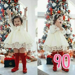 【新品】クリスマス ワンピース ドレス白90(ワンピース)