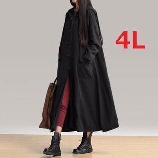 新品大きいサイズ4L ゆったり中華風フード付スプリングマキシコート黒(スプリングコート)