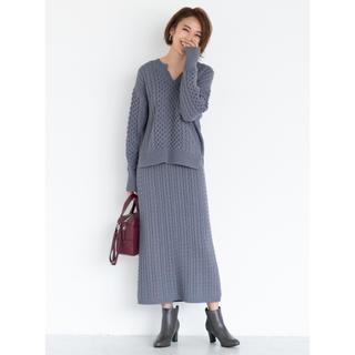GU - 【割安】GU セットアップ ケーブル キーネックセーター ナロースカート