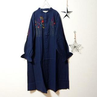 ✿Fillil✿ネイビー✿お花刺繍バンドカラーシャツワンピ