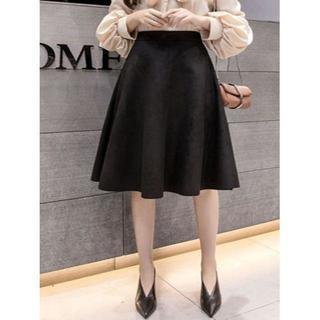 新品★4XL(大きいサイズ)黒スェード調フレアースカート(ひざ丈スカート)