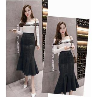 新品★3XL(大きいサイズ)黒デニムマーメイドロングスカート(ロングスカート)