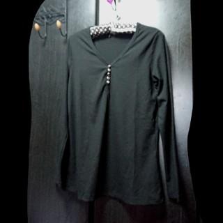 新品  シンプル 綺麗系  カットソー  ゆったりサイズ 黒 2XL (カットソー(長袖/七分))