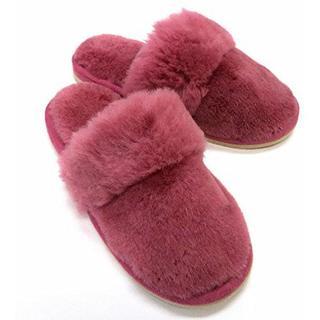 洗える 天然羊毛スリッパ FURFURMOUTON Medium ローズピンク