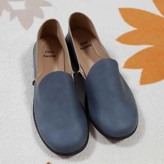 婦人靴 Sサイズ 革靴 ブルー スリッポン(ローファー/革靴)