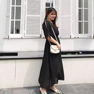 新品 魔法の着痩せドレス 大きいサイズ 結婚式 パーティ きれいめ ブラック(ロングドレス)