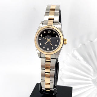 ロレックス(ROLEX)の【保証書付】ロレックス 11P 黒文字盤 コンビ ダイヤ レディース 腕時計(腕時計)