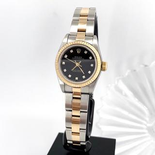 ROLEX - 【保証書付】ロレックス 11P 黒文字盤 コンビ ダイヤ レディース 腕時計