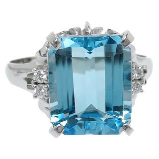 ブルートパーズ 4.99ct ダイヤモンド リング・指輪 Pt900(リング(指輪))