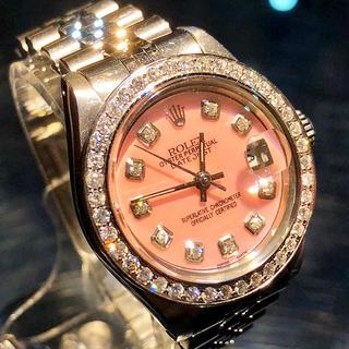 ロレックス(ROLEX)のロレックス ピンクシェル文字盤 レディース ダイヤモンド(腕時計)