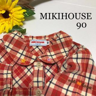 mikihouse - ミキハウス 襟刺繍 長袖 ブラウス 花 りんご チェック 秋 冬 春 ファミリア