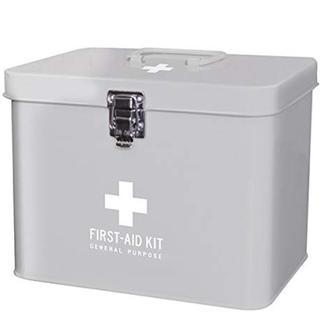 ファーストエイドボックス 救急箱 薬箱 Lサイズ(グレー)