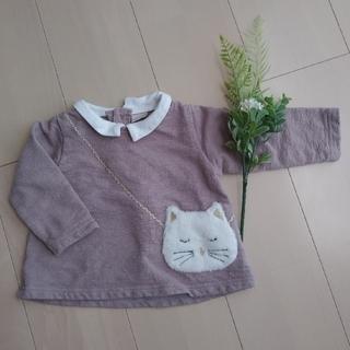 petit main - petitmain カットソー ネコ 猫ちゃん ポシェット 襟つき 女の子 80