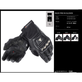 ダネーゼ(DANESE)のDAINESE RACE PRO IN GLOVES BLACK(装備/装具)