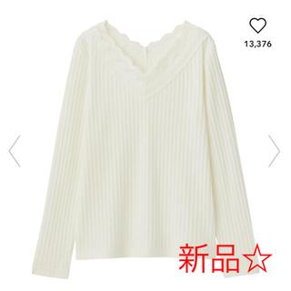 GU - GU ジーユー☆ レーストリムVネックT(長袖)オフホワイト、M